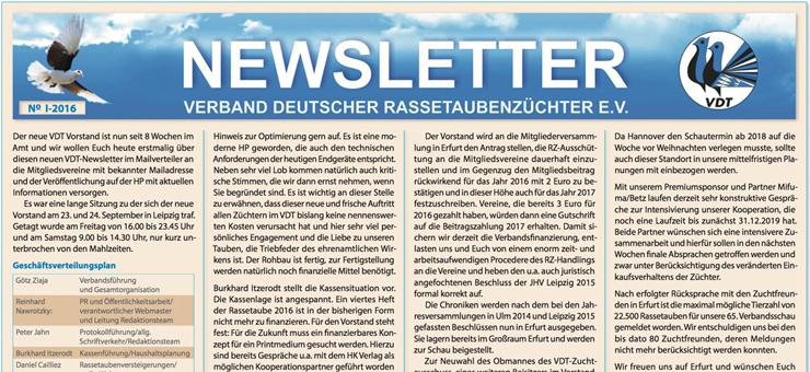 VDT Newsletter Nr. 1 - 2016