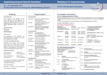 King-Club Deutschland, Einladung Jungtierbesprechung 2017, Seiten 2 und 3