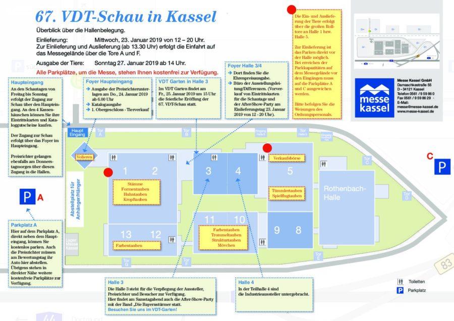 Hallenbelegungsplan der 67. VDT-Schau in Kassel